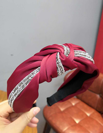 Fashion Red Wine Wide-brimmed Fabric With Diamond Knotted Headband