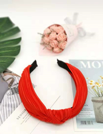 Fashion Red Fabric Pleated Slip Headband