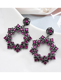 Fashion Black S925 Sterling Silver Needle Set Zircon Flower Circle Earrings