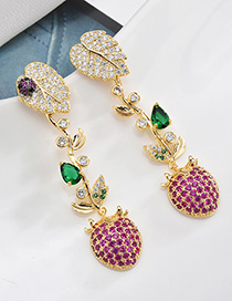 Fashion Gold S925 Silver Pin Micro Inlaid Zircon Fruit Tassel Earrings