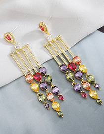 Fashion Color S925 Sterling Silver Needle Micro-inlaid Zircon Drop Earrings