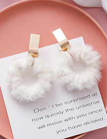 Fashion White Plush Round Big Earrings