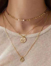 Fashion Gold Multilayer Wafer Love Alloy Necklace