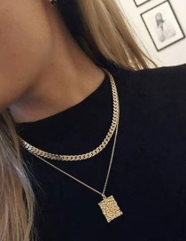 Fashion Gold Geometric Chain Embossed Square Necklace