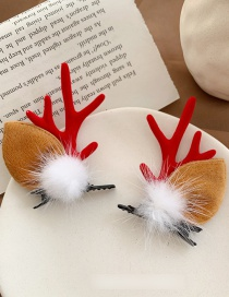 Fashion Gross Hair - Red Christmas Antler Hairpin