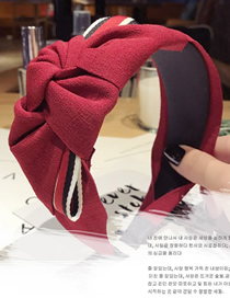 Fashion Red Wine Wide-brimmed Stripe Knotted Non-slip Headband