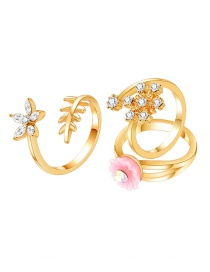 Fashion Gold Flower Opening Adjustable Ring Three-piece