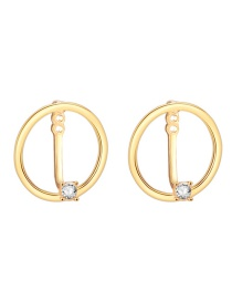 Fashion Gold Ring Geometry Earrings