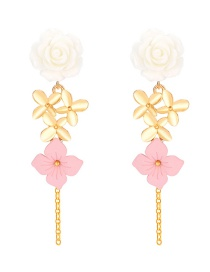 Fashion Gold Flower Tassel Earrings