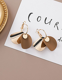 Fashion Gold 925 Silver Needle Curved Round Geometric Earrings