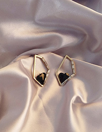 Fashion Black Love Geometric Irregular Hollow Earrings