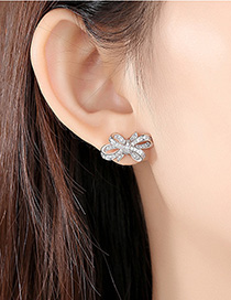 Fashion Platinum Bow-studded Zirconium Earrings