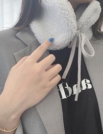 Fashion Light Grey Knotted Fake Fur Collar Collar
