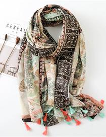 Fashion Printing Cotton And Linen Cashew Flower Scarf Shawl