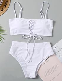Fashion White High Waist Laced Split Swimsuit