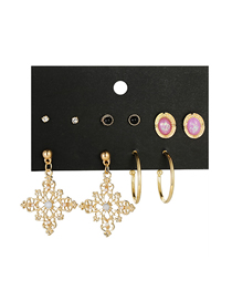 Fashion Gold C-shaped Diamond Earrings Set