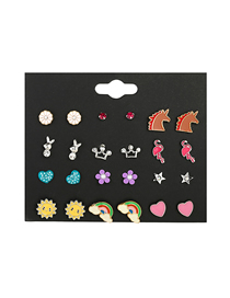 Fashion Color Sun Flower Rainbow Drop Oil Crown Diamond Earring Set