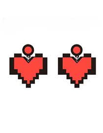 Fashion Red Pixel Love Cartoon Acrylic Pixel Love Stud Earrings
