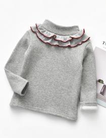 Fashion Gray Not Down Velvet High Collar Lotus Leaf Collar Children's Bottoming Shirt