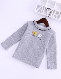 Fashion Gray Wooden Eared Collar Embroidered Long-sleeved Children's T-shirt