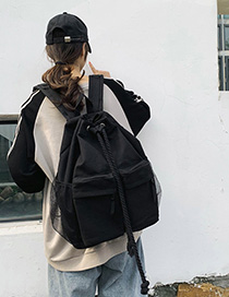 Fashion Black Pull-on Canvas Backpack