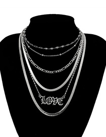 Fashion White K Letter Geometry Love Multi-layer Chain Necklace