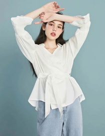 Fashion White Double-breasted Strap Shirt