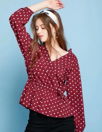 Fashion Red Polka-dot Long-sleeved Top