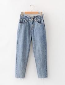 Fashion Blue Flower Elastic Waist Jeans