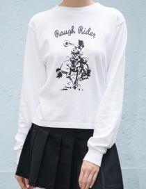 Fashion White Cotton Printed Sweater