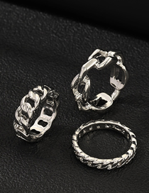 Fashion Silver Thick Chain Ring Set Of 3