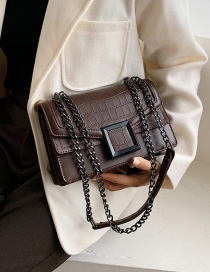 Fashion Brown Stone Chain Chain Messenger Bag