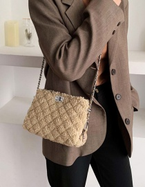 Fashion Khaki Plush Leopard Chain Shoulder Messenger Bag