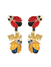 Fashion Red + Yellow Alloy Stud Earrings