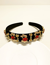 Fashion Black Resin Alloy Diamond Headband
