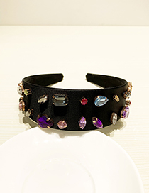 Fashion Black Resin Alloy Diamond Color Headband