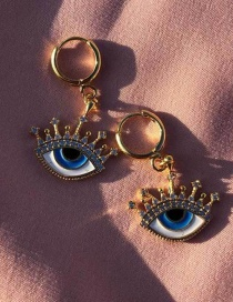 Fashion Gold Gold-plated Eye-studded Earrings