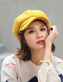 Fashion Yellow Woolen Octagonal Cap