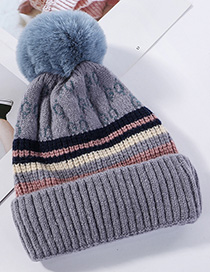 Fashion Gray-blue Knitted Wool Ball Color Matching And Cashmere Cap