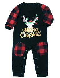 Fashion Crawling Suit Fawn Plaid Print Christmas Home Service Suit