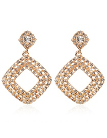 White Alloy Diamond-studded Geometric Diamond Earrings