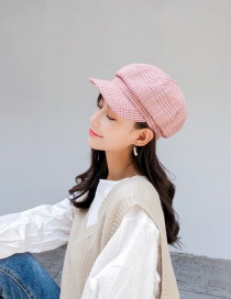Fashion Pink Plaid Knotted Beret