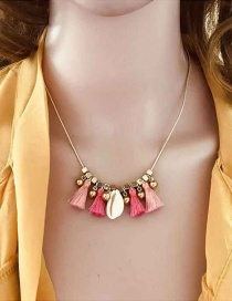 Fashion Pink Fluffy Fringed Shell Necklace