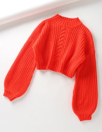 Fashion Orange Crew Neck Sweater
