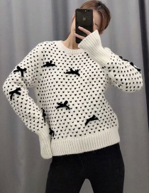 Fashion Beige Knitted Sweater With Bow