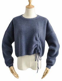 Fashion Blue Side Drawstring Crew Neck Sweater