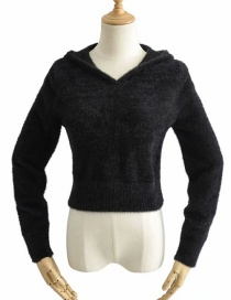 Fashion Black Mohair Hooded Sweater