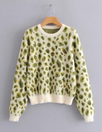 Fashion Green Leopard Mink Round Neck Knitted Sweater
