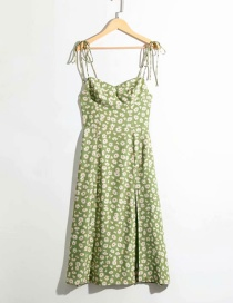 Fashion Green Floral Print Bandeau Pleated Dress