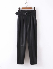 Fashion Black High-waist Paper Bag Type Pu Leather Pants